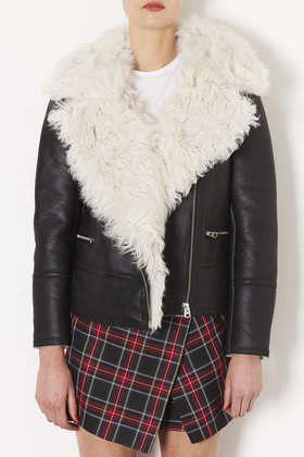 **Curly Sheepskin Biker Jacket