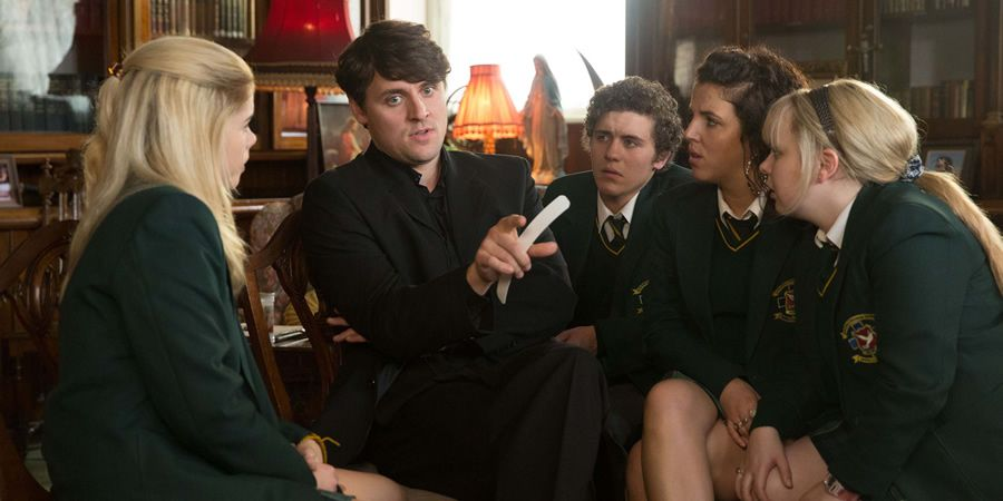 Derry Girls Image Shows From L To R Erin Quinn Saoirse Jackson Father Peter Peter Campion James Maguire Dylan Derry Girls Derry Girls James Erin Quinn