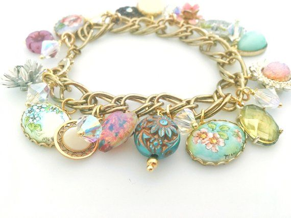 Vintage Charm Bracelet Made From Repurposed Jewelry Hand