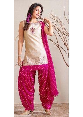 Casual Wear Readymade Beige Patiala Suit - 72121