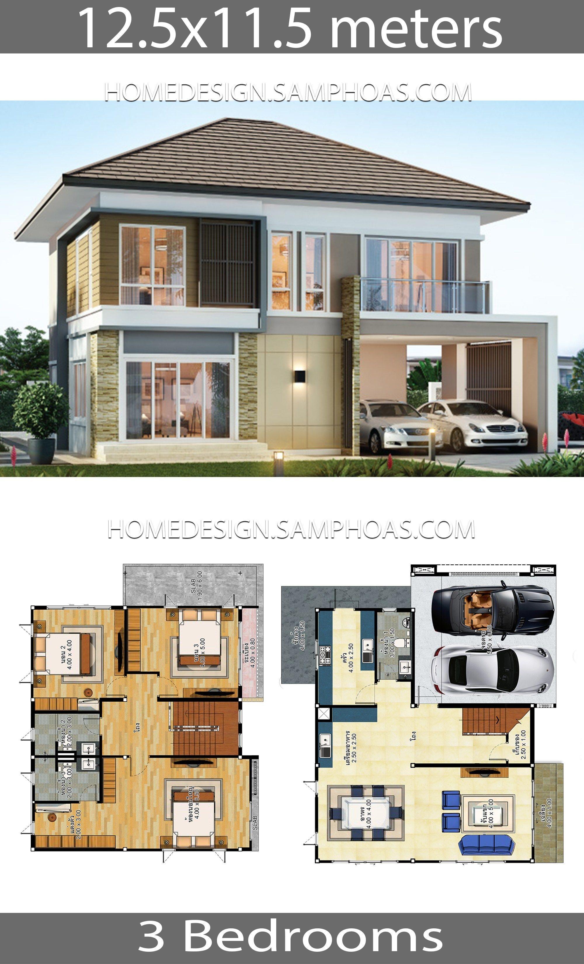 House Plans Idea 12 5 11 5 With 3 Bedrooms Building Size 12 50 X 11 50 Land Size Sq M 16 50 X 15 50 M La Loft House Design House Plans House Layout Plans