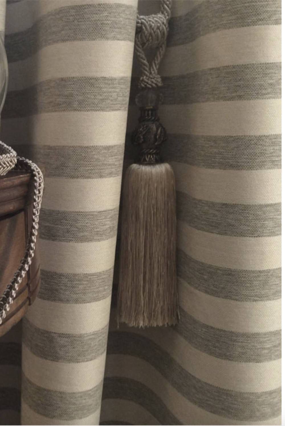 Modern Farmhouse Shower Curtain Beige Grey Stripe Ticking Tan Striped Fabric Extra Long Wide