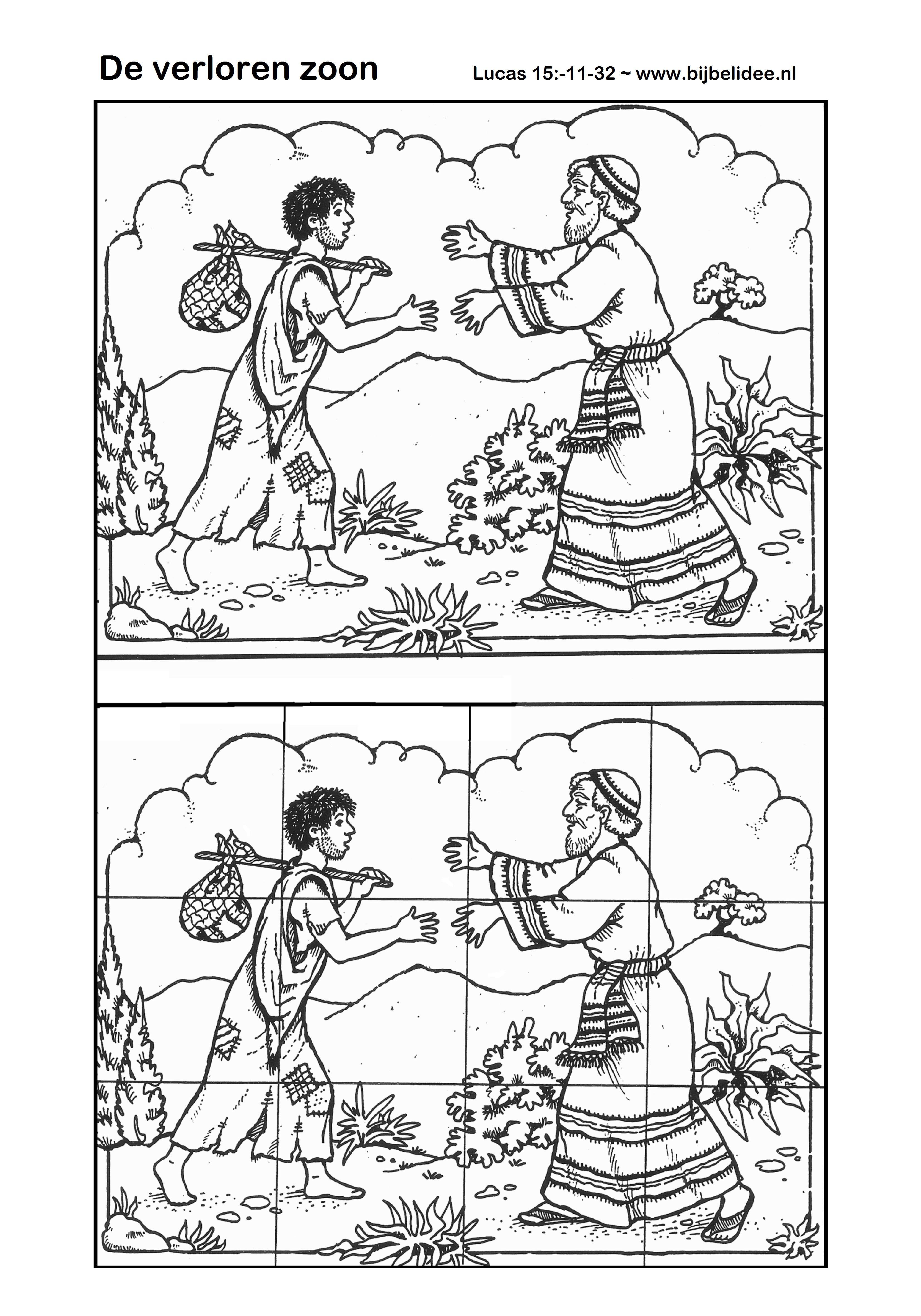 Kleurplaten Bijbelverhalen Peuters.De Verloren Zoon Kleurplaat En Puzzel Lucas 15 11 32 Www