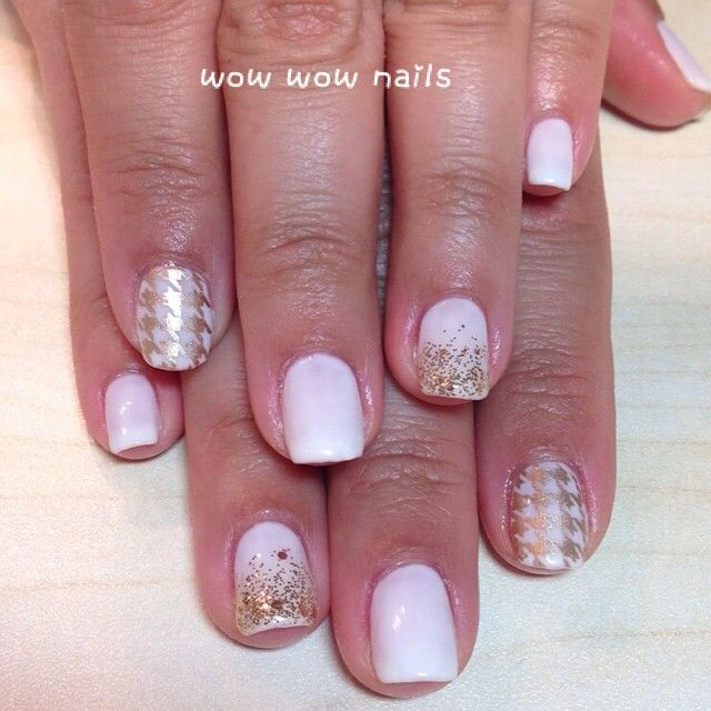 Lucy's nail design! #softwhite #shellac #gelpolish #goldaccent #houndstooth #glitternails #glitter #fashion #beauty #springnails #wowwownails #toronto