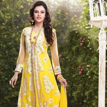 Yellow Faux Crepe and Net Anarkali Churidar Kameez
