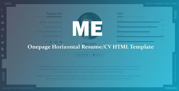 Awesome Me  Onepage Horizontal ResumeCv Template Resume  Cv
