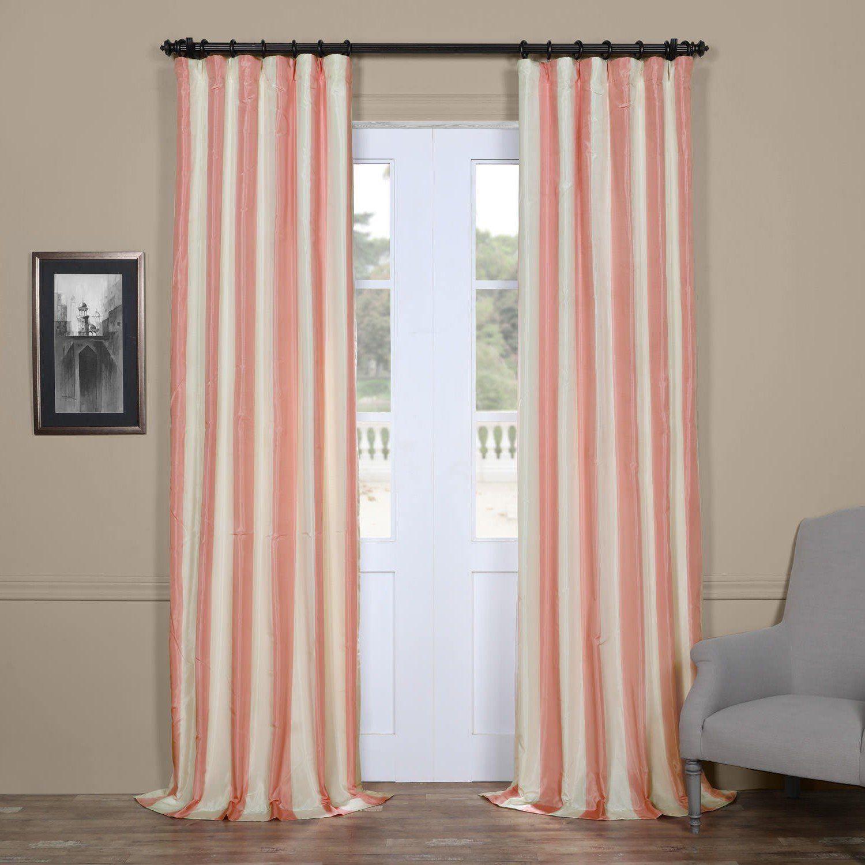 S Light Pink Cream Rugby Stripes Faux Silk Taffeta Window Curtain 108 Inches Single Panel Fuchsia Off White Treatment Striped Vertical