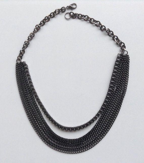 Gunmetal chain bib necklace Goth chain by LadyofAlbionJewels