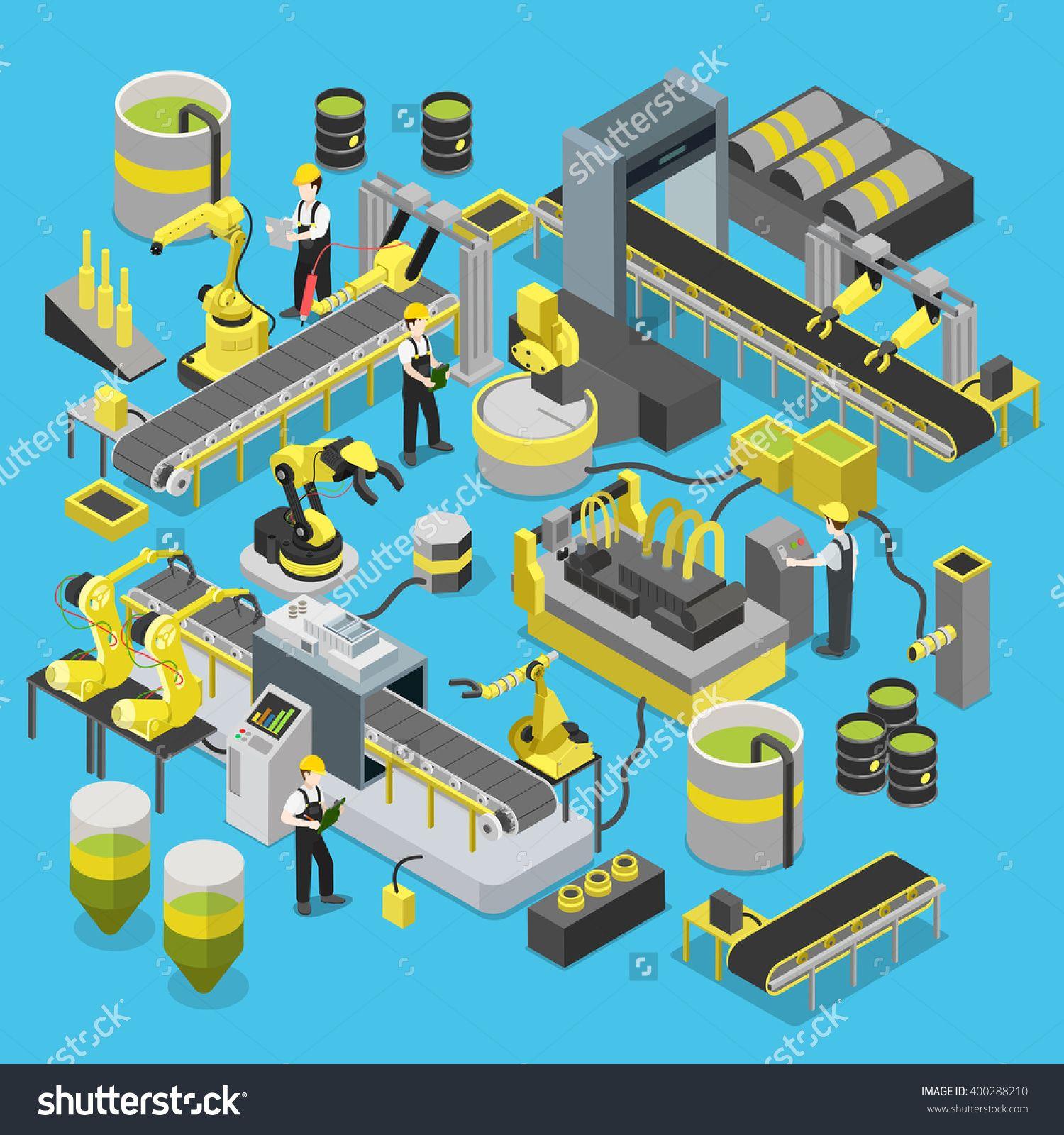 Chemical production conveyor flat 3d isometric