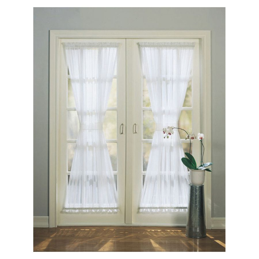 High Twist Voile 72 In White Polyester Rod Pocket Light Filtering Sheer Single Curtain Panel White Paneling Single Patio Door Patio Door Curtains