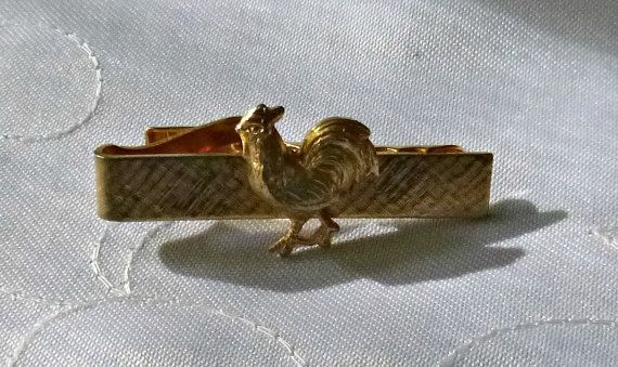 50's Gold Rooster Tie Clip Vintage Chicken Tie Bar Clip Mens Gold 1960's Mid Century Farmer Farm Jewelry Necktie Clip Clasp Hen Cock Tie Bar