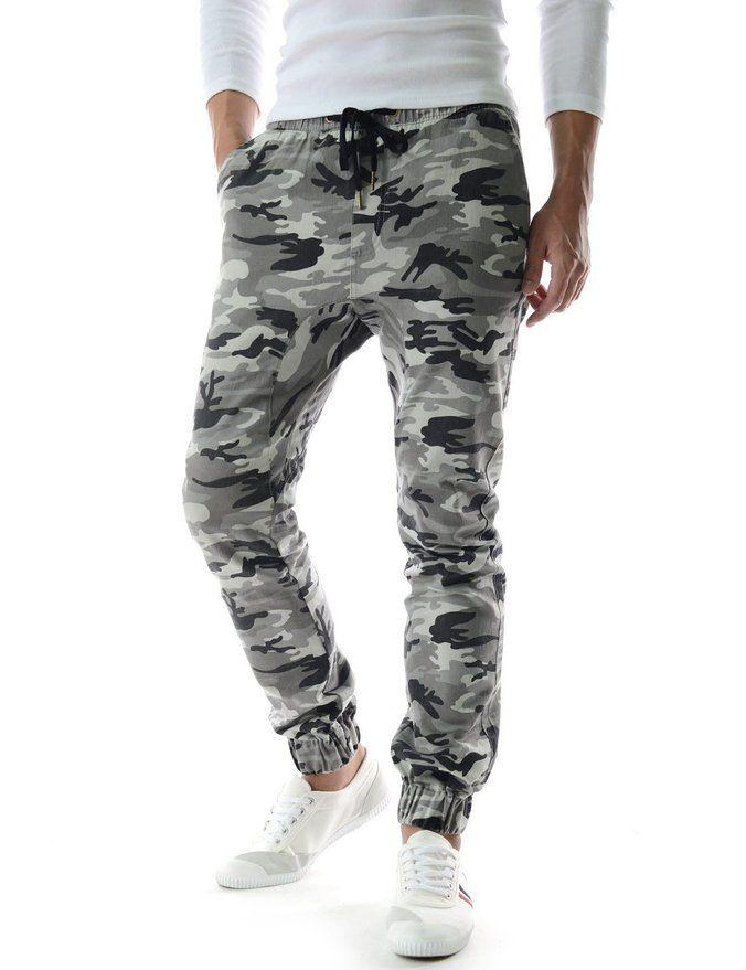 (TLP50) Semi Baggy Style Drawstring Sports Camouflage Jogger Casual Harem Pants GRAY 30/28L (Tag size Medium)