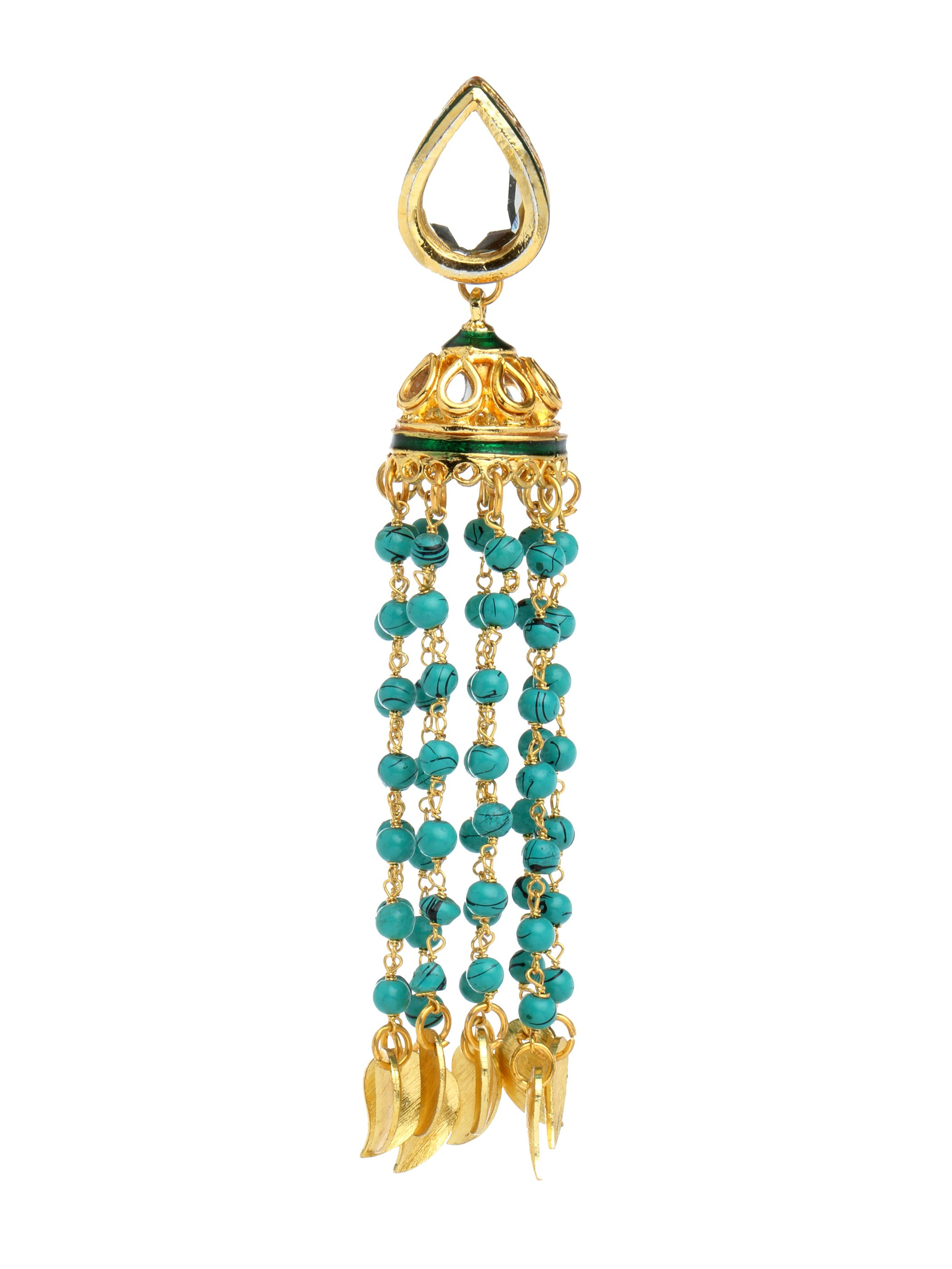 Turquoise & Golden Long Earrings For Women #Ekatrra #Gold #Earring #Fashionable #Partywear #Accessories #Jewellery #Gift #Trendy #Womenshopping #onlineShopping #Stylish #Women #Stud Shop Now: http://bit.ly/1REqiUt
