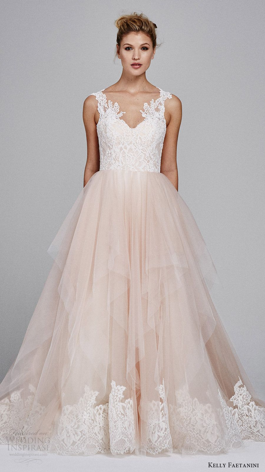 Kelly Faetanini Fall 2017 Sleeveless Sweetheart Lace Bodice Aline Wedding Dress Azalea Mv Blush Skirt Hem