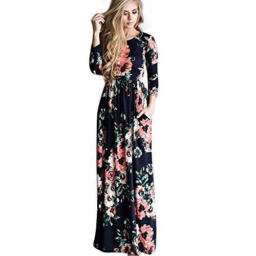 e4d017ae1d1 FeelinGirl Robe Maxi été Maxi Robe Femme Manches Court Poche Longue Imprime  Chic Elégant Charmant Noir XL