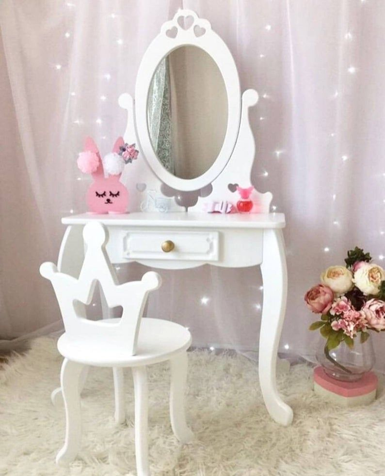 Kids Dressing Table Girl S Dressing Table With Mirror White Wooden Makeup Table In 2020 Kids Dressing Table Dressing Table Design Girls Dressing Table