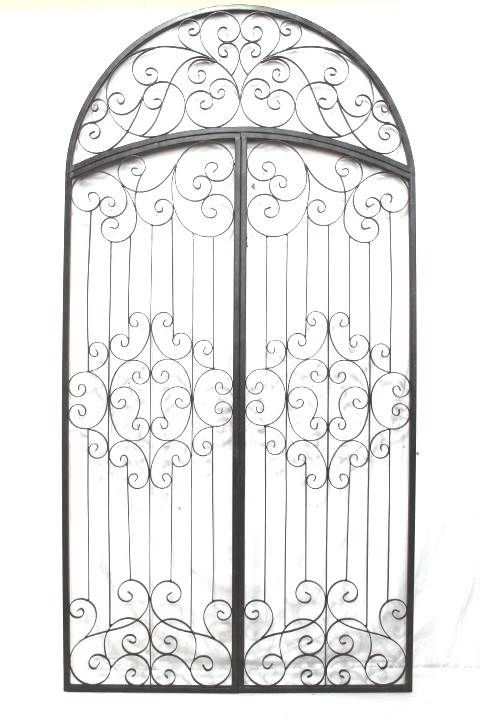 Tuscan Oversized Wrought Iron Metal Arched Garden Gate Wall Art Wall Grille