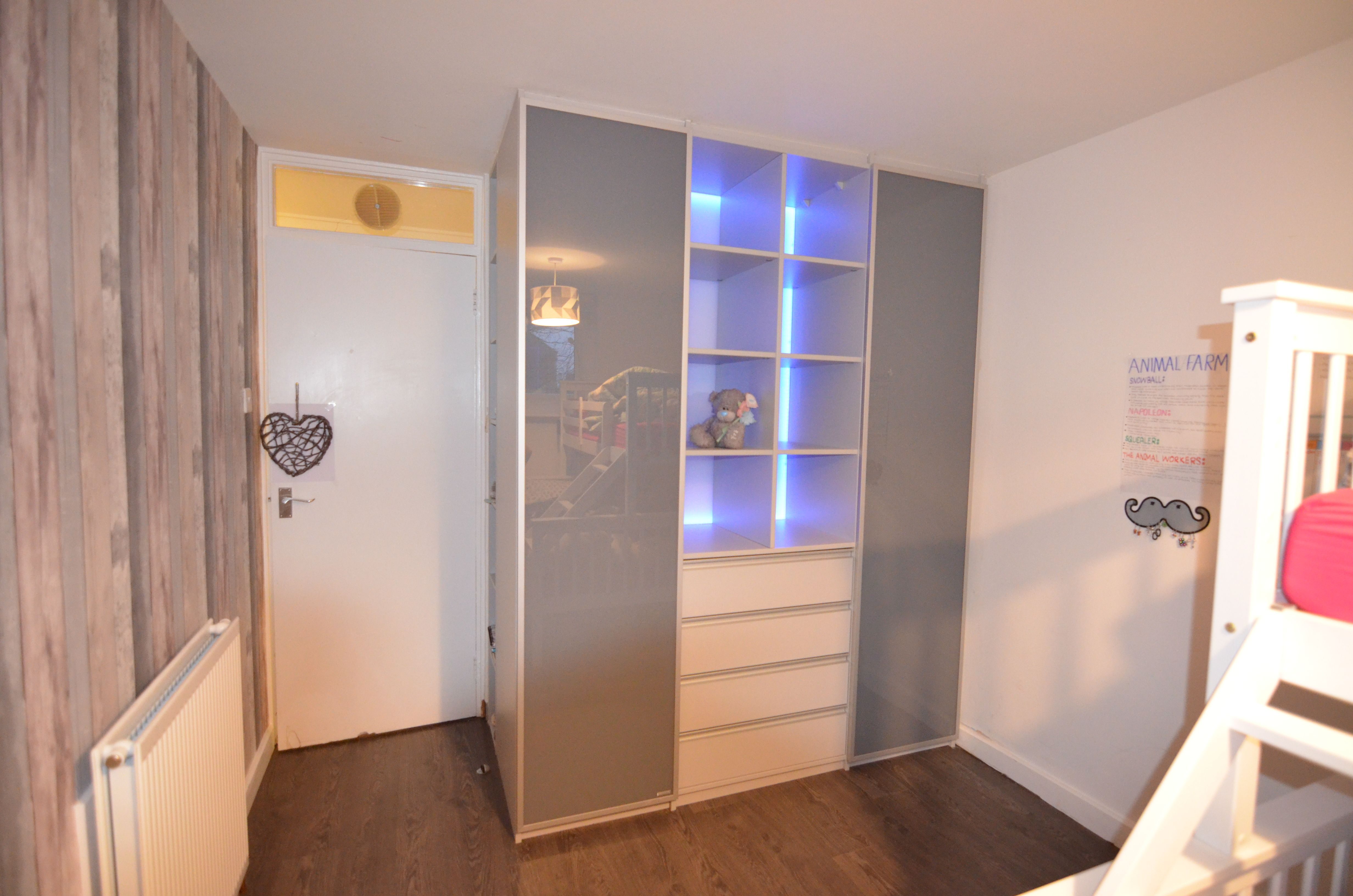 2 Door Wardrobe With Open Shelving With Coloured Led Lighting Fitted Bedroom Furniture Fitted Bedrooms Furniture Ireland