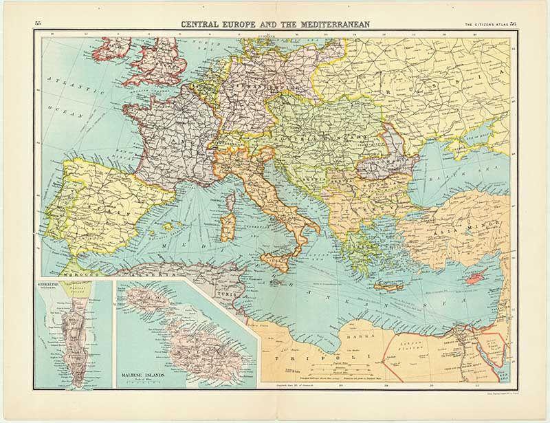 Vintage map of Central Europe \u0026 The Mediterranean