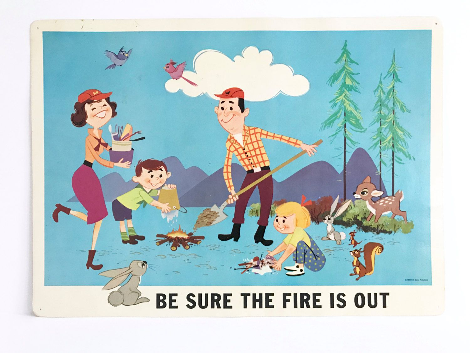 Vintage Sign Poster Fire Safety Classroom Decor Walt Disney Studios Family Camping by NeatoKeen on Etsy