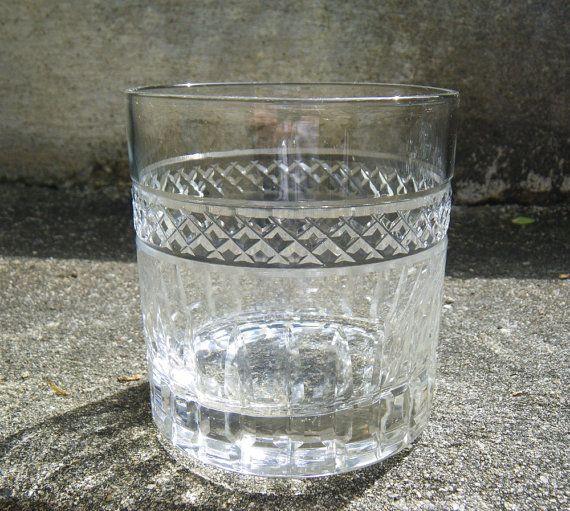 6 Vintage Manhattan Glasses   Etched Glass   Barware