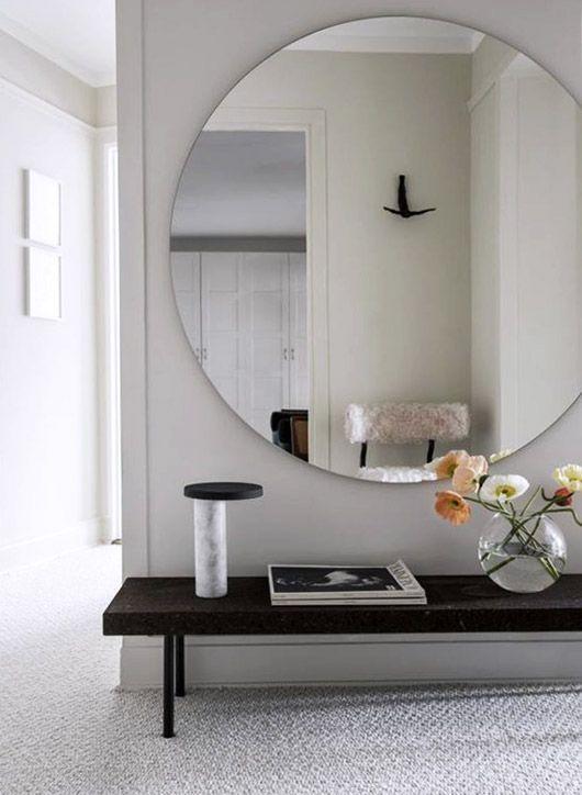 large round modern mirror