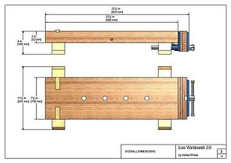 The Low Workbench 2 0 Plans Dimensions Details Notes Etsy Workbench Small Workbench Woodworking Bench Plans