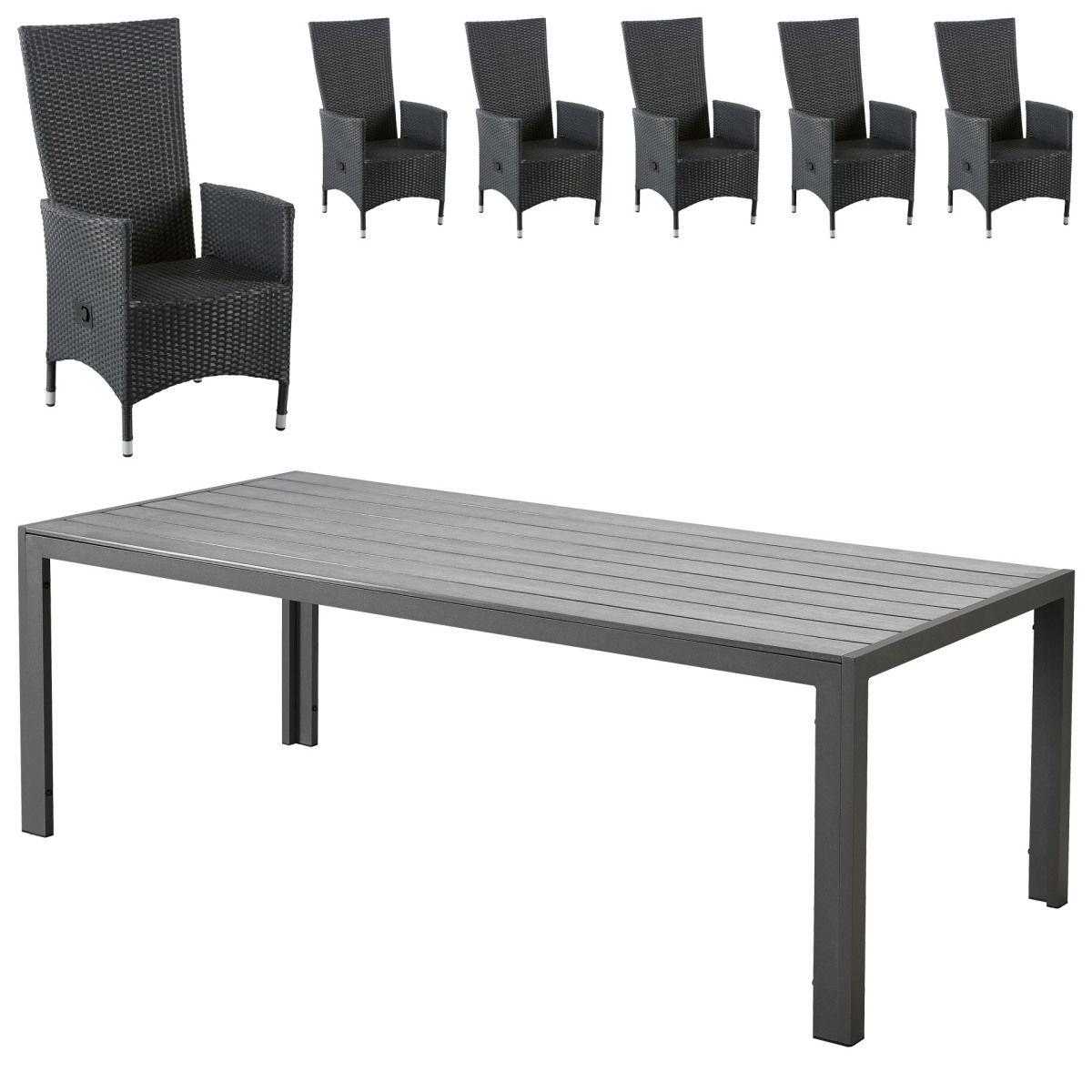 Gartenmöbel-Set Miami/Rio Grande (1 Tisch, 6 Komfortsessel, schwarz ...