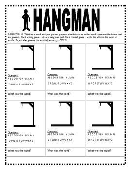 hangman word game templates centers word study word games