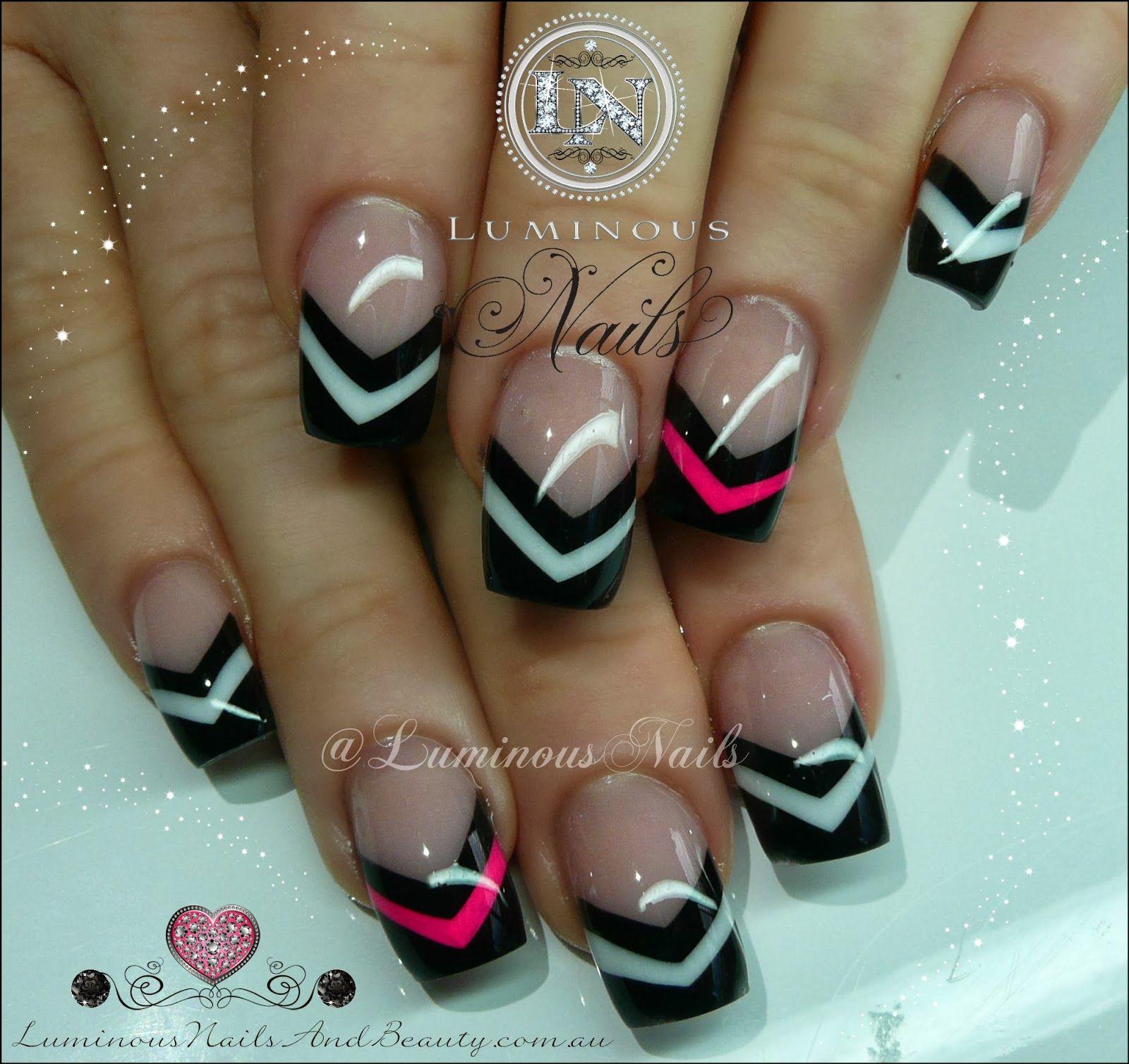 V Shape Design Nails In Black White Hot Pink Luminous Nails Chevron Nail Art Trendy Nails