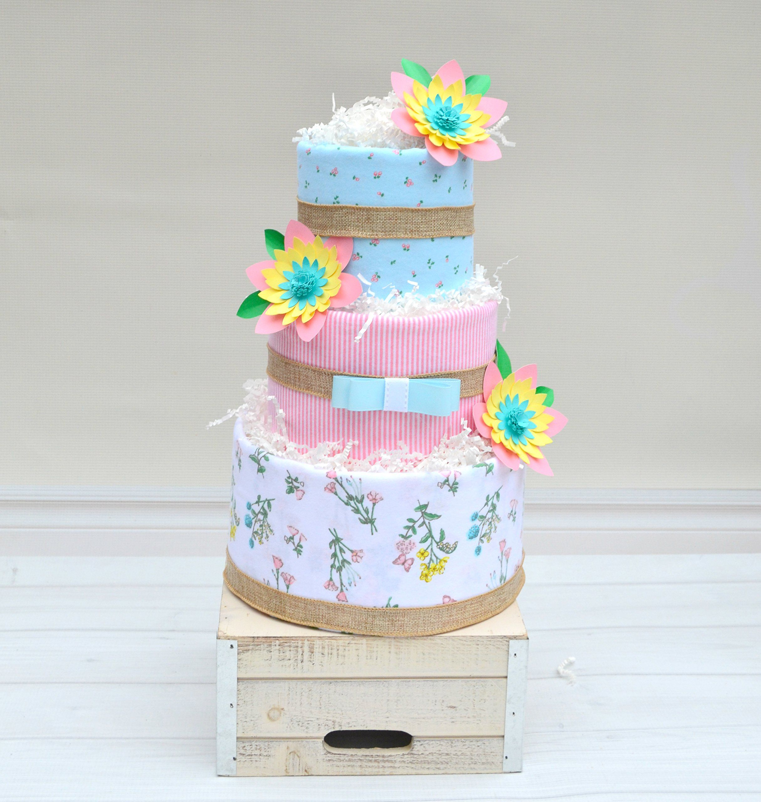 Baby Girl Floral Diaper Cake For Baby Shower Gift *