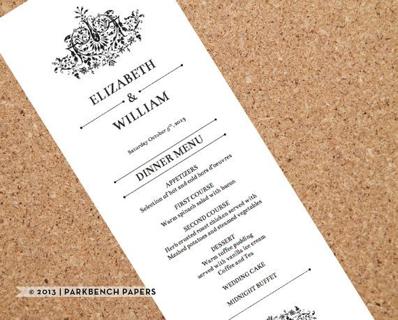 Printable Wedding Menu Template  Flourish Design  Diy Editable