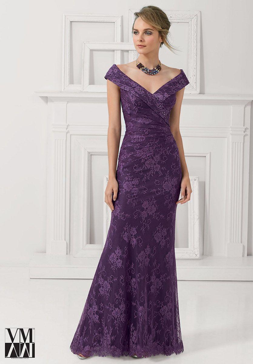 VM Collection 71113 Off Shoulder Lace Evening Dress