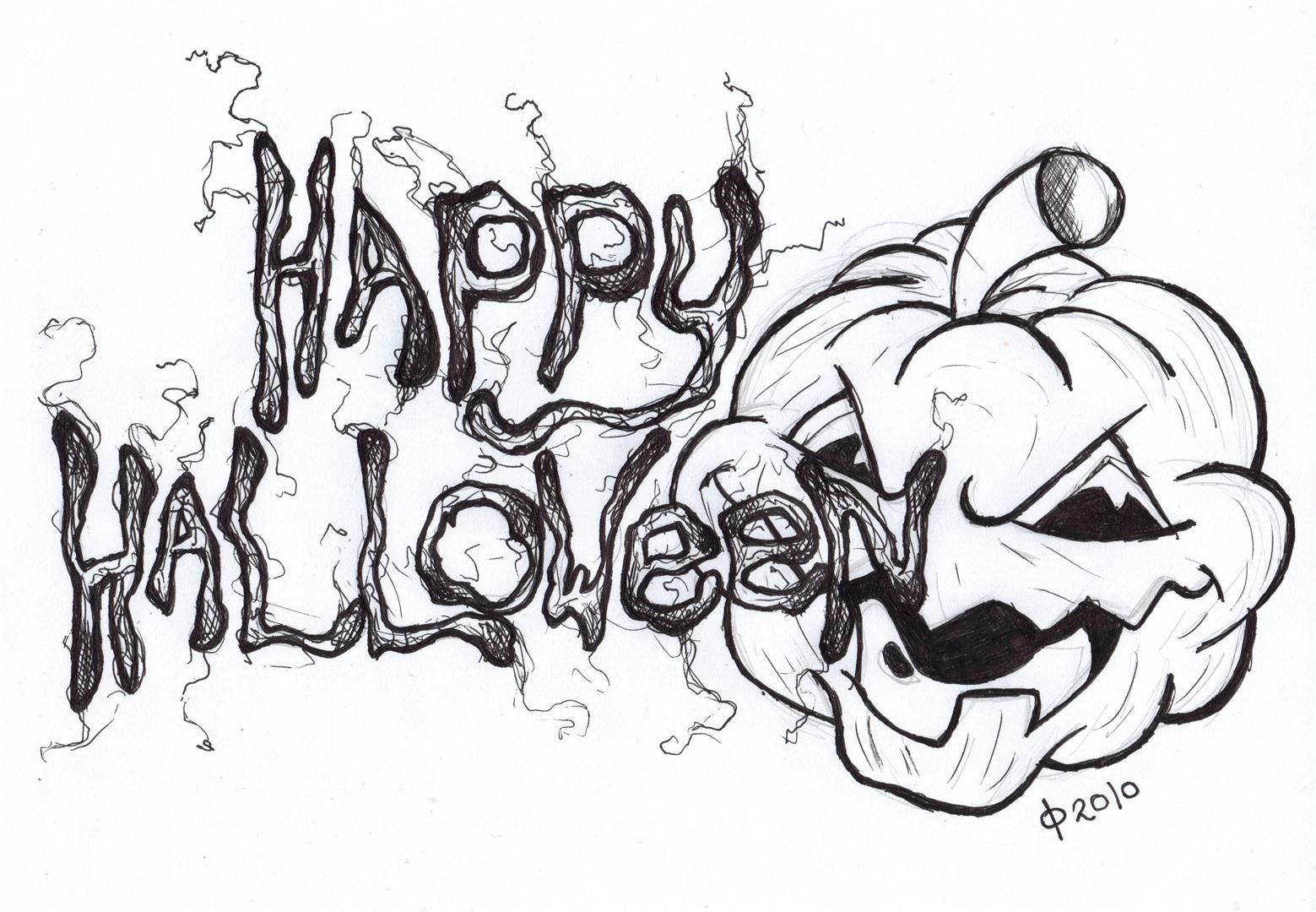 cool happy halloween drawings - Cool Happy Halloween Pictures
