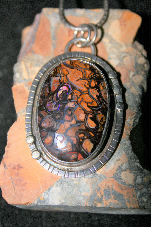 Australian koroit boulder opal 925 sterling silver circle