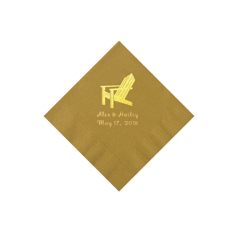 Gold Beach Chair Personalized Napkins with Gold Ink - Beverage