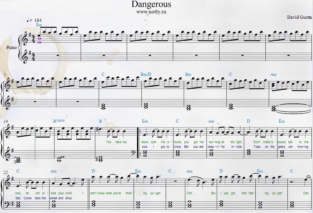 David Guetta — Dangerous Free Piano Sheets ft. Sam Martin | Piano ...