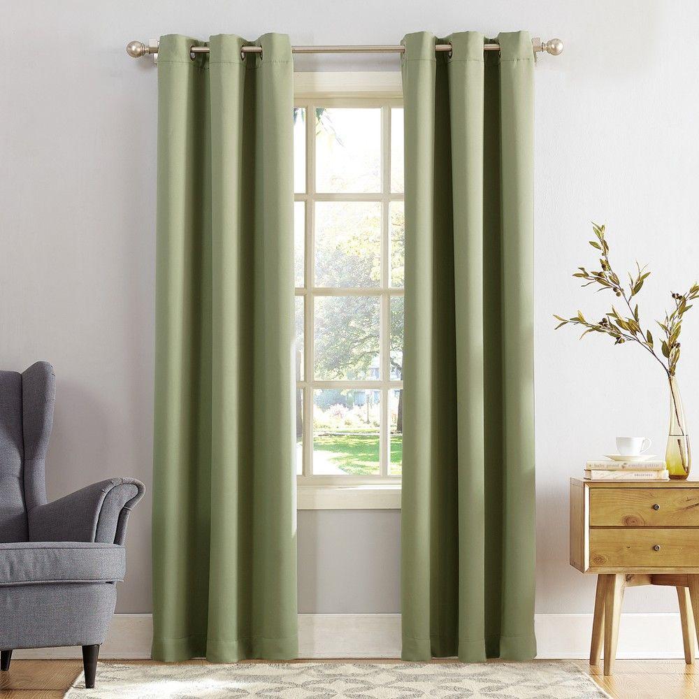 Kenneth Blackout Energy Efficient Grommet Curtain Panel Sage 40 X84 Sun Zero Adult Unisex Size 40 X 84 Green Grommet Curtains Curtains Panel Curtains