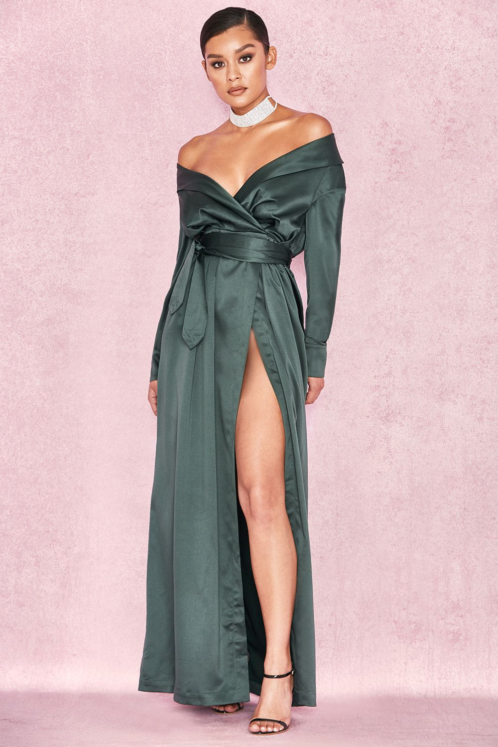 b3eab469cafd Clothing   Max Dresses    Antoinette  Evergreen Satin Off Shoulder Maxi Wrap  Dress