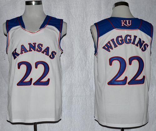d6aa9f6c4dfc Jayhawks  22 Andrew Wiggins White Basketball Stitched NCAA Jersey ...