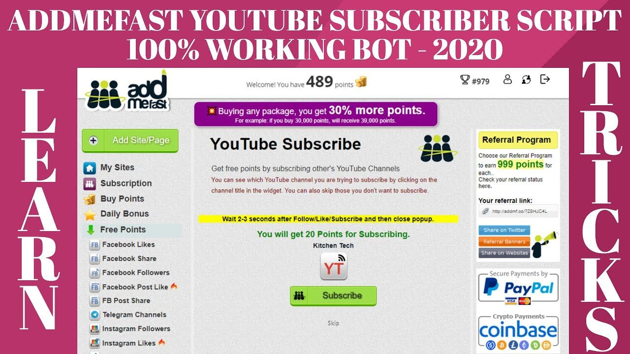 Addmefast Youtube Subscriber Imacro Script 4 Addmefast Bot Scripts Wo Youtube Subscribers Script Words Script