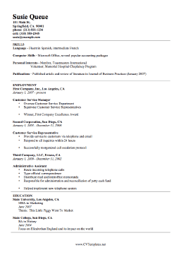 This free, printable resume template is a basic curriculum vitae ...