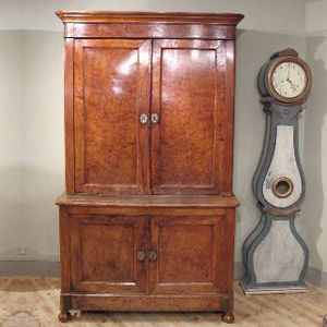 Armoire / Bureau / Cupboards - A late 18th century, French Buffet deux Corpes, in  burr elm, of simple lines, and with a lovely colour, that will work well in any setting.