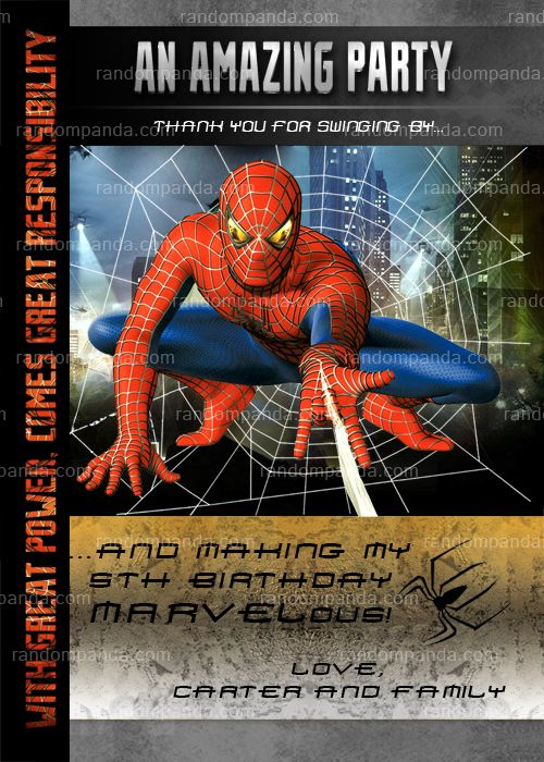 spiderman thank you card  spiderman birthday thanks note
