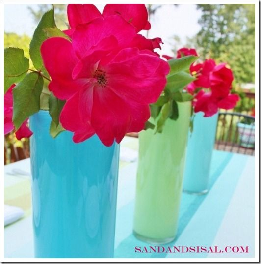 Painted Glass Vases (This method let's you to use them with water & put it in the dishwasher even).