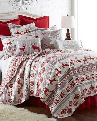 3 Piece Christmas Holiday Festive Winter Snowflake Blue /& White KING Quilt Set