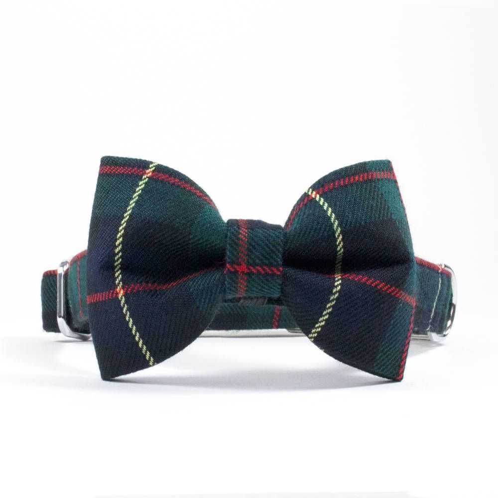Dog gift Bowtie For Dog Collar Fashionable collar accessories Dog Bow Tie- TARTAN Leather Dog Bow Tie Premium Pup Neckwear