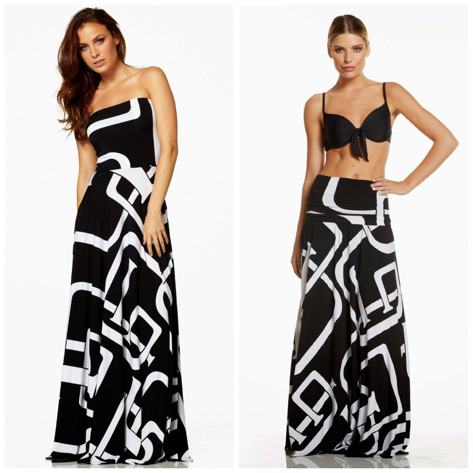 Black dress ebay - Details About Elan Usa Convertible Strapless Maxi Dress Or Skirt Black White Buckle Print 89