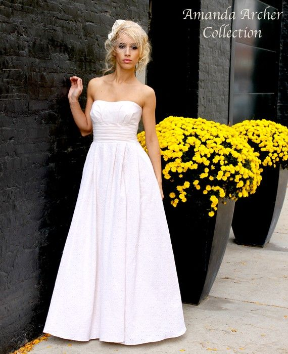 Rendezvous Gown White Eyelet Wedding Dress MADE TO By AmandaArcher 50000