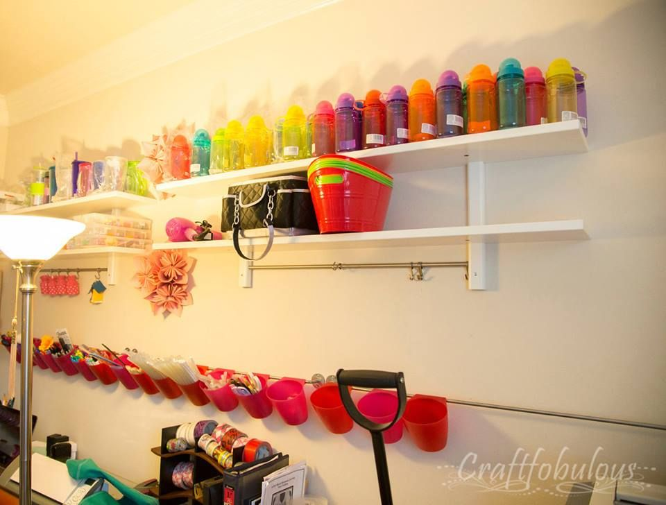 Shelving and hanging buckets from Ikea